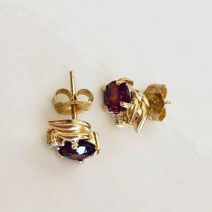 14K Gold Ruby Pierced Earrings
